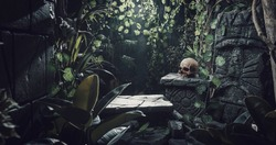 Human skull and ancient ruins in the jungle, exploration and adventure concept