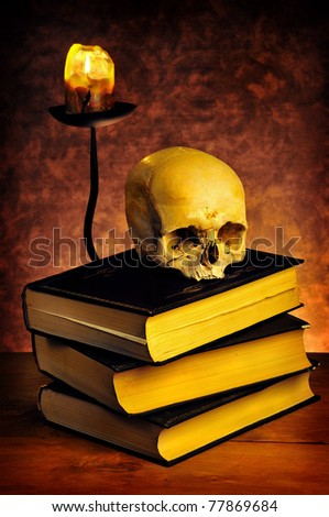 human skull and mystery books