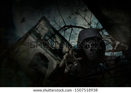 Human skull in jacket standing over grunge castle, dead tree, bird fly, full moon and cloudy spooky sky, Halloween mystery concept