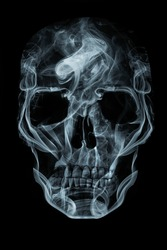 Human skull made of smoke. Memento mori concept.