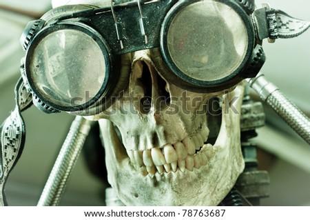 human skull with insane look...