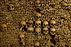 Human skulls and bones. Remains from the catacombs under the city of Paris France which hold 6.000.000 skeletons.