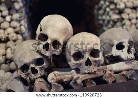 Human skulls and bones with soft shadows in Kutna Hora, Czech republic - stock photo