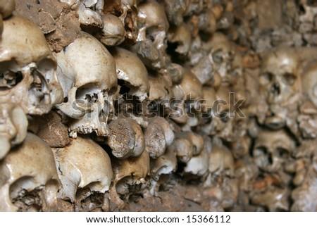 Human skulls covering inner walls of the Chapel of Bones (Portugal).