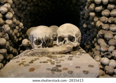 Human skulls of pandemic victims of black death at a Kutna Hora ossuary at Sedlec in Czech Republic