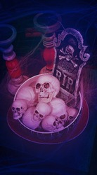 Human skulls stacked in deep round dish,tombstone rest in peace with bones behind,surrounded by empty candlesticks,on square gray tabletop,covered in cobwebs in red black colors.Vertical.Copy space