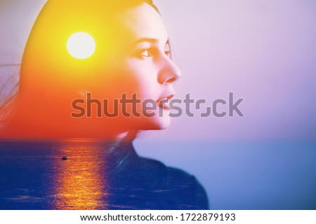 Human soul energy, mental health therapy, power spirit, inner peace concept. Double exposure abstract art portrait of a happy woman head face side portrait look at sun sea nature sunrise sunset in sky