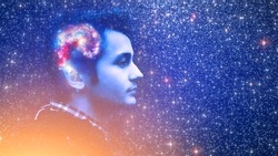 Human spirit, astronomy, life zen inner peace concept. Double multiply exposure abstract portrait of a dreamy young man face, galaxy universe space inside head Elements of this image furnished by NASA