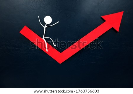 Human stick figure sliding on a red arrow pointing upward. Economy bounce back, rebound and recovery concept. Foto d'archivio ©
