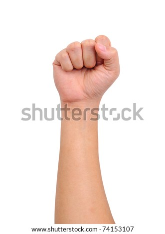 Human strength hand sign isolated on white