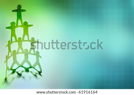 Human team pyramid on color background - stock photo