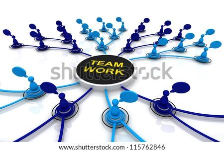 Human teamwork organization connection bubble diagram 3d render