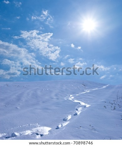 human track in a snowbound plain