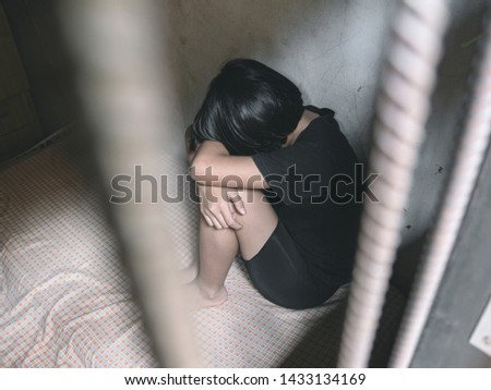 Human trafficking concept, human rights violations, Stop violence and abused young girl #1433134169