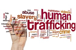 Human trafficking concept word cloud background
