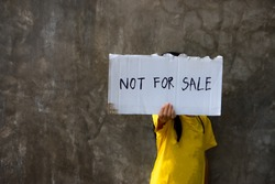 Human trafficking. I'm not for sale. Human is not a product. Stop child abuse.