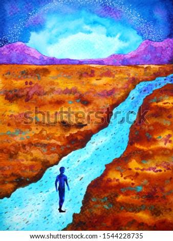 human walking abstract mind spiritual way watercolor painting art illustration design hand drawing