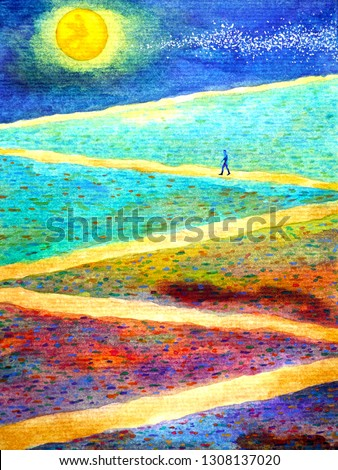 Human with spirit powerful energy walking on zigzag walkway during full moon night