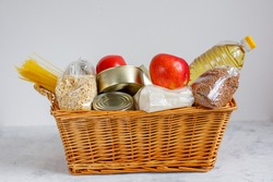 humanitarian aid in the basket. donation food