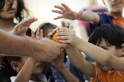 Humanitarian food for poor children in refugee camp