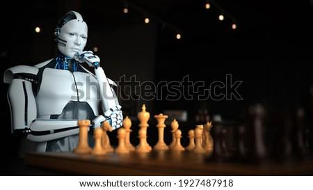 Humanoid robot playing chess. 3d illustration.  Stock fotó ©