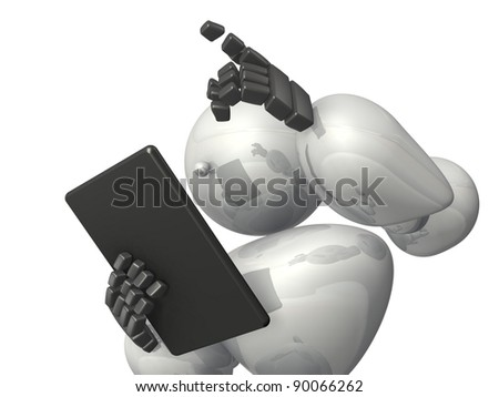 "HUMANOID ROBOT represents the ""New command"". This is a computer generated image,on white background."