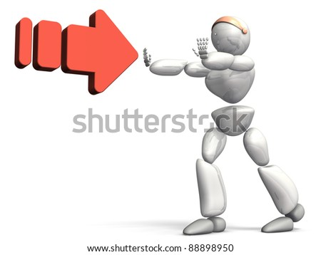HUMANOID ROBOT represents the Rejection. This is a computer generated image,on white background.