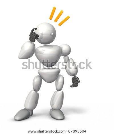 HUMANOID ROBOT represents the Victory of strategy. This is a computer generated image,on white background.