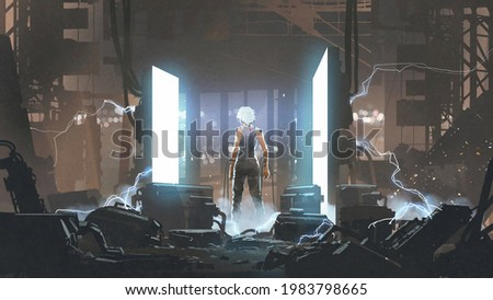 humanoid standing in an abandoned laboratory. digital art style, illustration painting Stock fotó ©