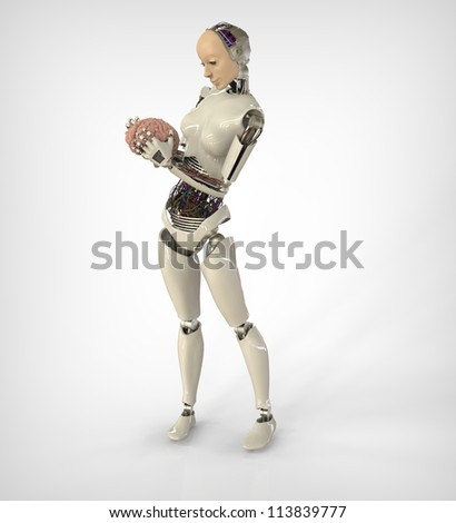 Humanoid with Brain - stock photo