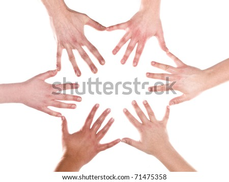 Humans making a formation out of hands and fingers on white background