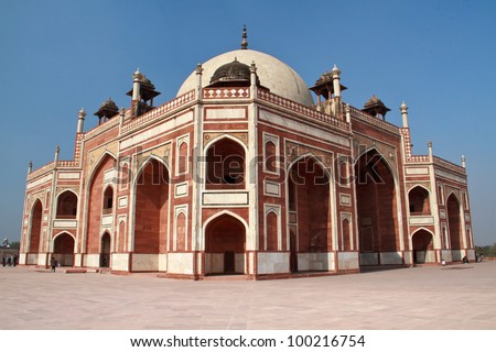 Humayun's tomb in Delhi, India, a prototype for the Taj Mahal