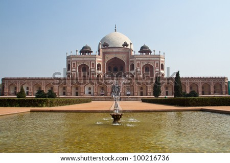 Humayun's Tomb in Delhi, India. prototype for the Taj Mahal