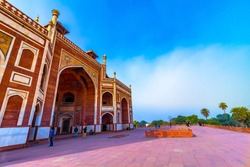 Humayun's Tomb in Delhi, India. The Humayun Tomb is also famous tourist place in Delhi. Locals also come to see this great Persian architecture marvel. Humayun Tomb is the last resting of the Emperor.