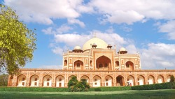 Humayun'S Tomb with beautiful cloudy blue sky, New Delhi, India