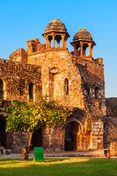 Humayuns Gate of the Purana Qila Fort, one of the oldest forts in Delhi city in India