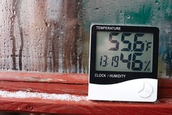 Humidity indicator is indicated on the hygrometer of the device. An image of electronic device to check temperature and humidity in closed area