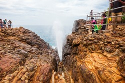 Hummanaya Blowhole is the only known blowhole in Sri Lanka. The Hummanaya Blowhole is located near Kudawella, 28 km from Matara and 12 km from Tangalle.