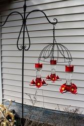 Hummingbird feeders hanging from an upside down flower basket.