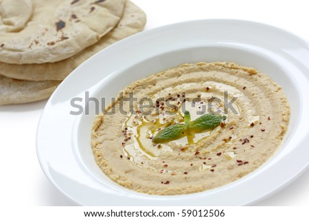 Hummus(Mashed chickpeas) and Pita Bread