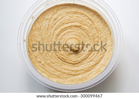 Hummus spread dip in jar middle east cuisine ストックフォト ©