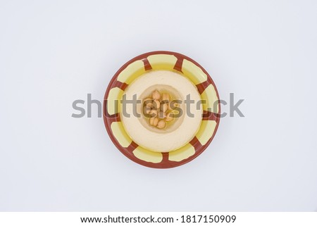 Hummus top view in traditional bowl  Stock photo ©