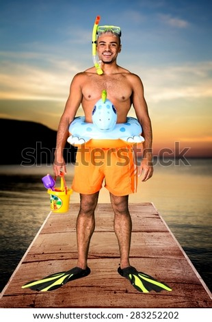 Humor, Beach, Men.