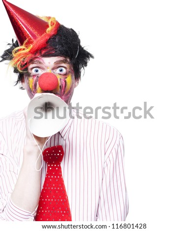 Humorous Birthday Clown Making Invitation To Guests Through Party Hat Over White Background
