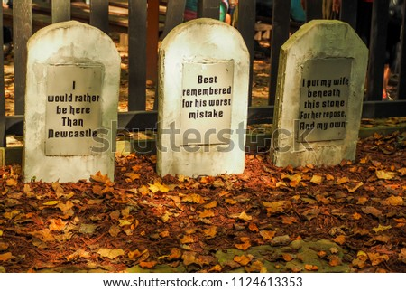 Humorous Fake Tomb Stones in the Fall