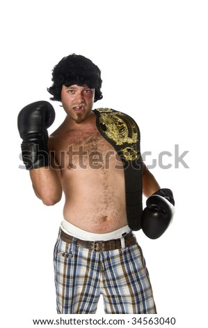 Humorous image of a man as a boxer