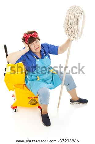 Humorous image of a tired maid going crazy.  Full body isolated on white.