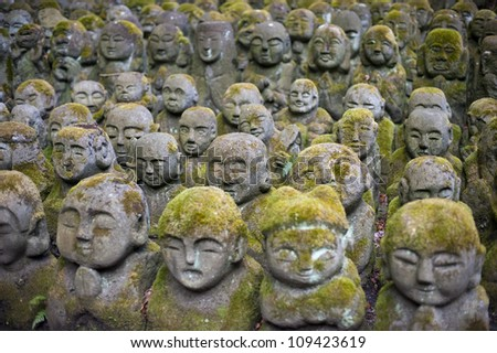 Humorous Rakan sculptures at Otagi Nenbutsu-ji Temple, Kyoto, Japan, Pictured with a narrow depth of field