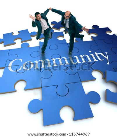 Humorous shot of a pair of running businessmen on a puzzle with the word Community