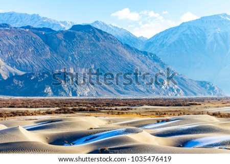 Hunder Sand Dunes - Beyond the leisure and monastic side of Ladakh, there are stunning silver sand dunes of Hunder in the Nubra Valley region